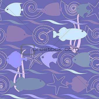 Shells and fish seamless pattern