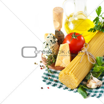 Ingredients for preparing pasta.