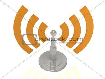 Silver antenna radiation orange waves