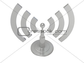 Silver antenna radiation waves