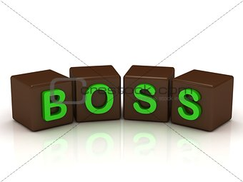 BOSS inscription bright green letters