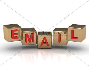 Red email sign on the gold cubes
