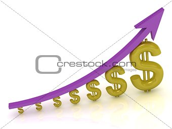 3D Illustration of the growth of the dollar