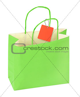 green shopping bag and blank price tag