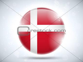Denmark Flag Glossy Button