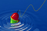 bright bobber on the smooth surface of blue water