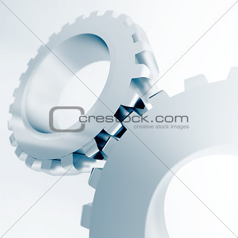 blue linked metal gears on a white background
