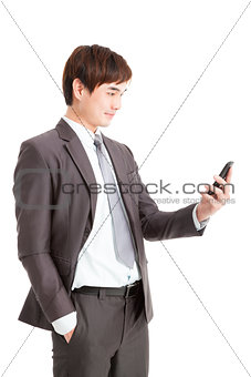 asian smart businessman holding smart phone