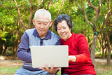 happy asian  Senior couple with laptop