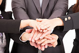 business team with hand together for teamwork concept