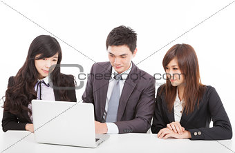 business group working with laptop
