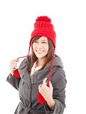 young asian woman wearing winter coat and cap