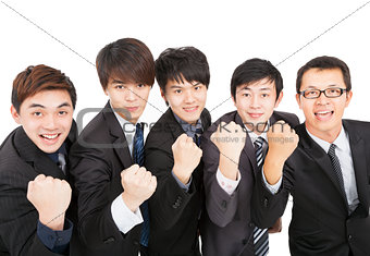 happy asian business team with success gesture