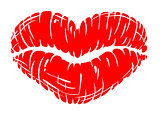 Red sexually lips print