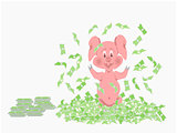 Pig Waving Money