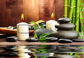 Candles,stones and water.