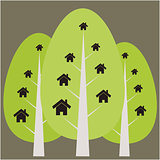 House and tree illustration
