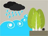 Tree protect tsunami illustration