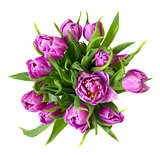 round purple tulips bouquet