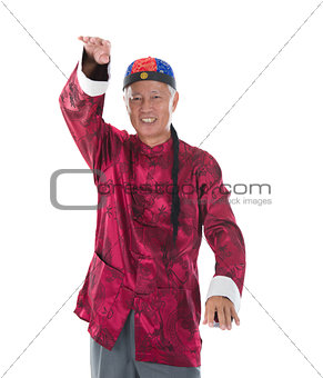 old man grand chinese kung fu master isolated on white