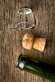 champagne cork and bootle