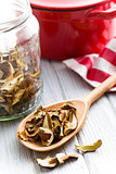 dried mushrooms in wooden spoon