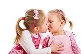 two kissing child