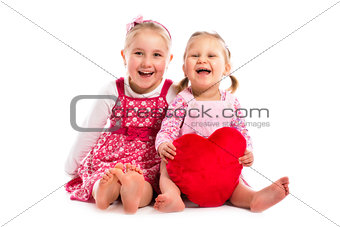 two sisters with heart