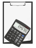 calculator clipboard and blank sheet of paper concept vector ill