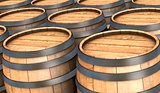 wooden barrels