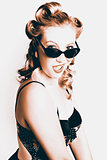 Retro Sepia Portrait Of A Surprised 60s Pinup Girl