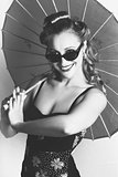 Black And White Dancer Holding Vintage Umbrella