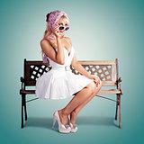 Beautiful Blond Woman In Retro American Fashion