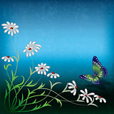 abstract illustration with flowers and butterfly