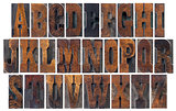 antique wood type alphabet