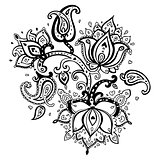 Paisley ornament.  Lotus flower.