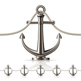 Seamless fence featuring an anchor isolated on white.