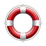 Red life buoy on white background.