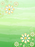 spring beige flowers in green background