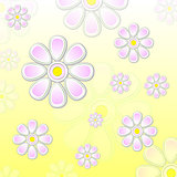 spring violet flowers over yellow background