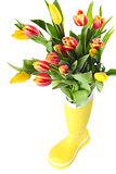 Boot with tulips