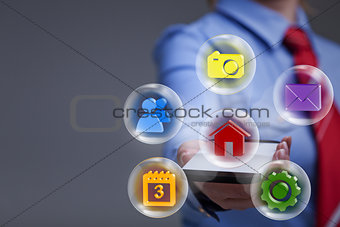 Business woman with smartphone and applications