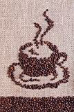 Coffee on burlap sack background