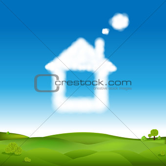 Abstract House From Clouds In Blue Sky And Green Landscape