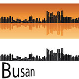 Busan skyline in orange background