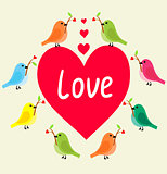 Birds with heart`s branch in Love Banner.