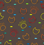 Pattern with traces of the cat and the cat face outline. 