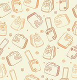 Vector pattern with bags, suitcases and backpacks 