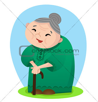 Cartoon smiling grandmother