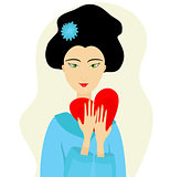 Vector portrait of love Japanese woman